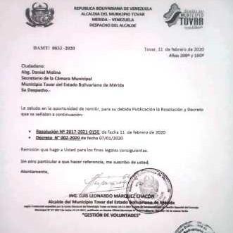 Frontera Digital,  CONFLICTO ALCALDE, TOVAR, DANIEL MOLINA, Mocoties,  Secretario del Concejo Municipal de Tovar  desmiente al alcalde Luis Marquez  por embustero