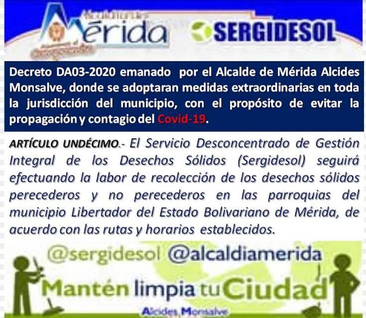 """Diario Frontera, Frontera Digital,  SERGIDESOL, Regionales, ,""""Nos apegamos al decreto DA03-2020 Alcaldía de Mérida  de continuar con la recolección de la desechos sólidos"""""""