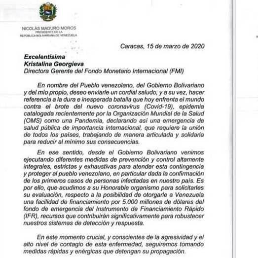 Diario Frontera, Frontera Digital,  JORGE ARREAZA, FMI, Nacionales, ,Presidente Maduro solicita financiamiento  del Fondo Monetario Internacional