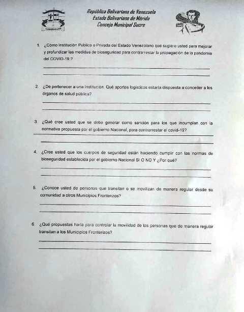 Diario Frontera, Frontera Digital,  MUNICIPIO SUCRE DE MÉRIDA, Regionales, ,Concejales de Sucre efectuarán encuesta   que establecerá las medidas de acción y sanciones para evitar el covid-19