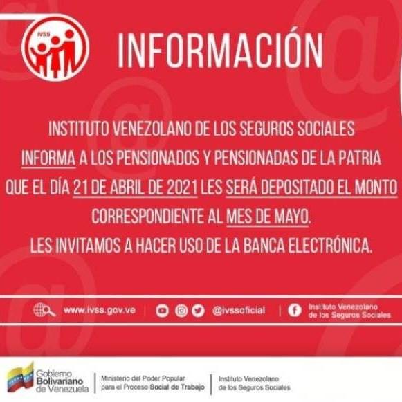 Diario Frontera, Frontera Digital,  IVSS, Nacionales, ,Ivss informa que ya está disponible el pago de la pensión de mayo