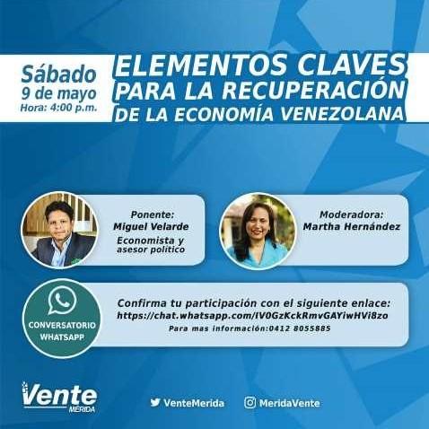 Diario Frontera, Frontera Digital,  VENTE VENEZUELA, Politica, ,Miguel Velarde en foro digital de Vente Mérida: No habrá nuevo  modelo económico sin cambio político en una transición