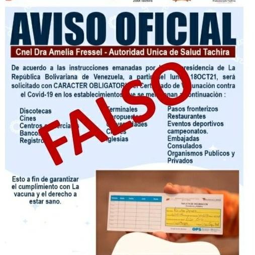 Diario Frontera, Frontera Digital,  AVISAO FALSO, Salud, ,Ministerio de Salud desmiente solicitud  del carnet de vacunación para ingresar a sitios públicos